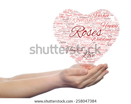 Concept or conceptual red wordcloud text in shape of heart symbol in hands isolated on white background, metaphor to love, romance, passion, romantic, emotion, marriage, valentine, desire or affection - stock photo