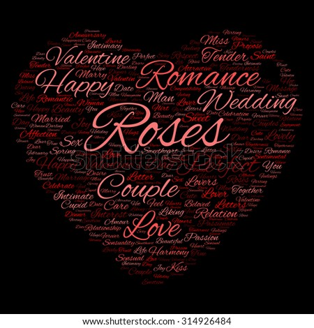 Concept or conceptual red wordcloud text in shape of heart symbol isolated on black background, metaphor to love, romance, passion, romantic, emotion, marriage, valentine, desire or affection