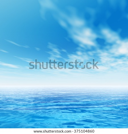 Concept or conceptual sea or ocean water waves and sky cloudscape exotic or paradise background - stock photo