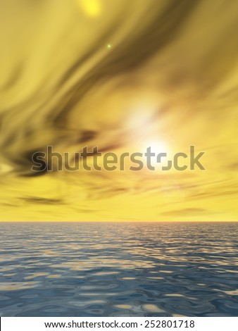 Concept or conceptual sea or ocean water waves, sky cloudscape exotic or paradise background at sunset, metaphor to nature, peace, summer, travel, tropical, tourism, environment, vacation holiday - stock photo