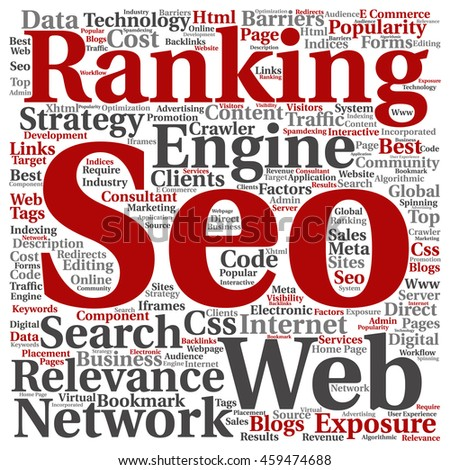 Concept or conceptual search engine optimization, seo abstract square word cloud isolated on background metaphor to marketing, web, internet, strategy, online, rank, result,  network, top, relevance