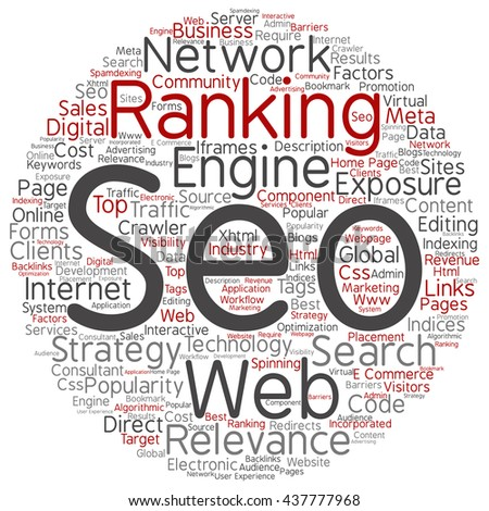 Concept or conceptual search engine optimization, seo round abstract word cloud isolated on background, metaphor to marketing, web, internet, strategy, online, rank, result,  network, top, relevance - stock photo