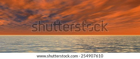 Concept or conceptual seascape with water and waves and a sky with clouds at sunset as a metaphor for nature, romantic, dramatic, light, evening, morning, peace, atmosphere or weather - stock photo