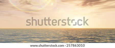 Concept or conceptual seascape with water and waves and a sky with clouds at sunset banner  as a metaphor for nature, romantic, dramatic, light, evening, morning, peace, atmosphere or weather - stock photo
