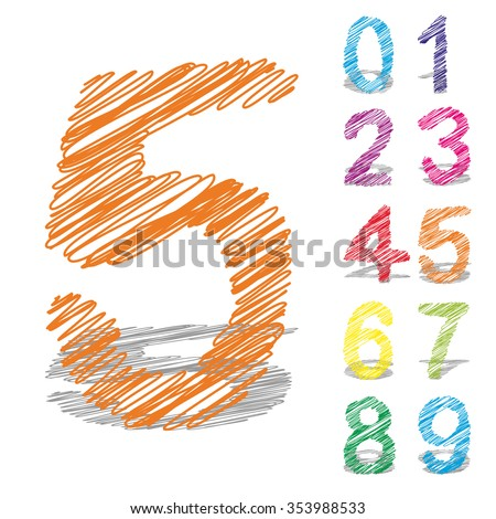 Concept or conceptual set or collection of colorful handwritten, sketch or scribble fonts isolated on white background, metaphor to school, education, childhood, artistic, graffiti or children