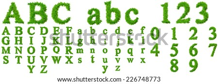 Concept or conceptual set or collection of green grass, eco font isolated on white background for nature, summer, spring, alphabet, ecology, environment, plant, winter, ecological, conservation design