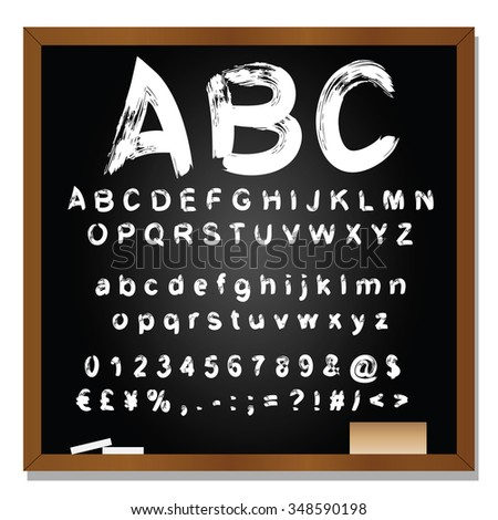 Concept or conceptual set or collection of white handwritten, sketch or scribble fonts isolated on blackboard black background, metaphor to school, education, childhood, artistic or children - stock photo