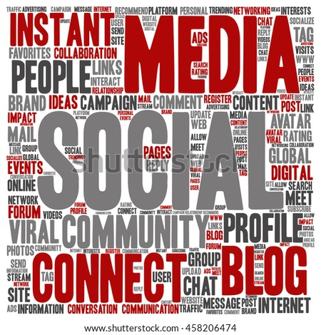 Concept or conceptual social media marketing or communication abstract square word cloud isolated on background - stock photo