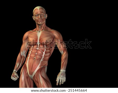 Concept or conceptual strong man anatomy upper body with muscle over black background metaphor to medicine, sport, male, muscular, medical, health, medicine, biology, anatomical, strong fitness design - stock photo
