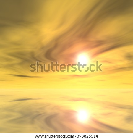 Concept or conceptual sunset or sunrise background with the sun at horizon and sea or ocean, metaphor to nature, romantic, dramatic, light, evening, morning, peace, atmosphere, weather or sunshine