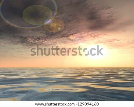 Concept or conceptual sunset or sunrise background with the sun close to horizon and sea or ocean as a metaphor for nature,romantic,dramatic,light,evening ,morning,peace,atmosphere,weather or sunshine
