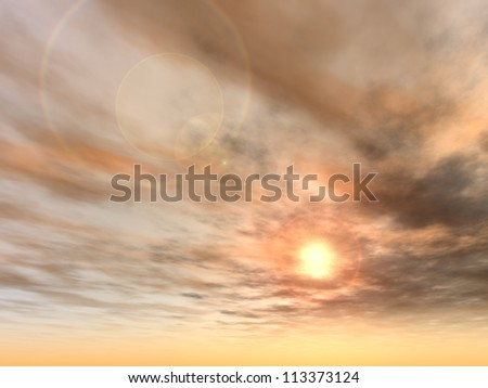 Concept or conceptual sunset or sunrise background with the sun close to horizon as a metaphor for nature,finish,sadness,romantic,dramatic,light,evening or morning,peace,atmosphere,weather or sunshine - stock photo