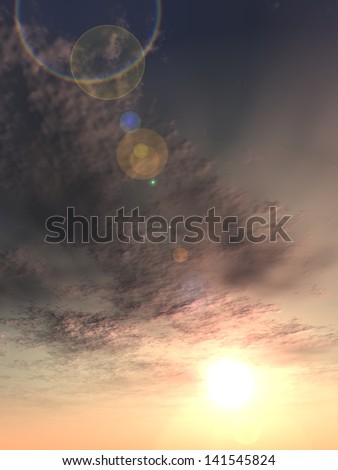 Concept or conceptual sunset or sunrise vertical background with the sun close to horizon as a metaphor for nature,finish,romantic,dramatic,light,evening ,morning,peace,atmosphere,weather or sunshine - stock photo