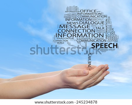 Concept or conceptual tree word cloud in man or woman hand on blue sky  background, metaphor to communication, speech, message, mail, relation, dialog, talk, contact, email, internet - stock photo