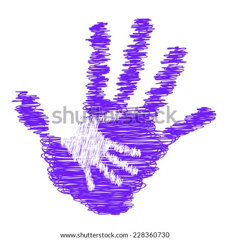 Concept or conceptual violet cute drawing paint hands of mother and child isolated on white for art, care, childhood, family, fun, happy, infant, symbol, kid, little, love, mom, motherhood or young - stock photo