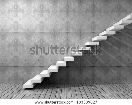 Concept or conceptual white stone or concrete stair or steps near a wall background with wood floor, metaphor to architecture, success, climb, business, staircase, rise, achievement, growth or