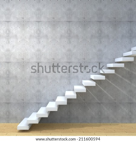 Concept or conceptual white stone or concrete stair or steps near a wall background with wood floor, metaphor to architecture, success, climb, business, staircase, rise, achievement, growth or future