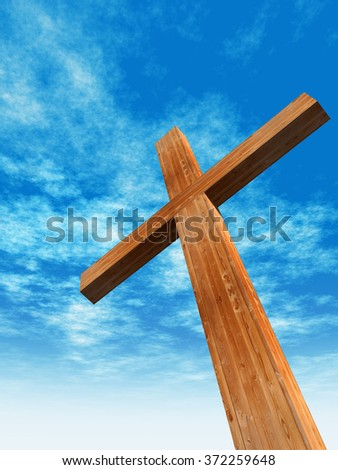 Concept or conceptual wood cross or religion symbol shape over a blue sky with clouds background metaphor to God, Christ, Christianity, religious, faith, holy, spiritual, Jesus, belief or resurection - stock photo