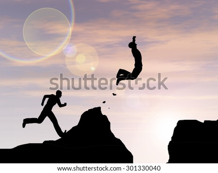 Concept or conceptual young 3D man or businessman silhouette jump happy from cliff over  gap sunset or sunrise sky background - stock photo