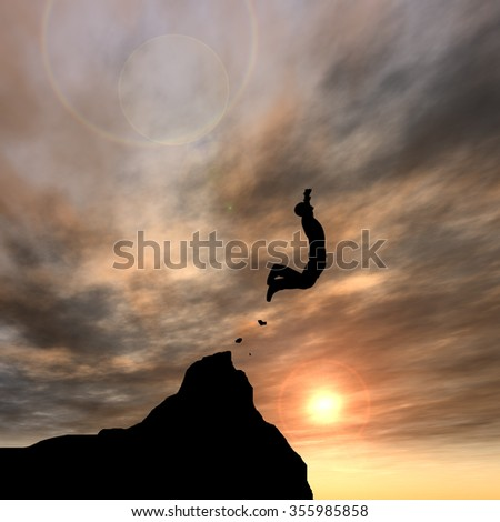 Concept or conceptual young 3D man or businessman silhouette jump happy from cliff over  gap sunset or sunrise sky background as metaphor to freedom, nature, mountain, success, free, joy, health risk - stock photo