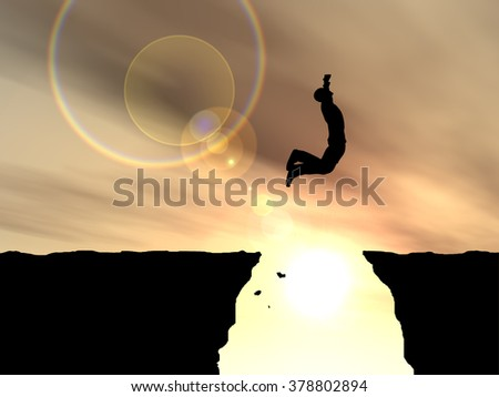 Concept or conceptual young 3D man or businessman silhouette jump happy from cliff over  gap sunset or sunrise sky background metaphor to freedom, nature, mountain, success, free, joy, health risk - stock photo