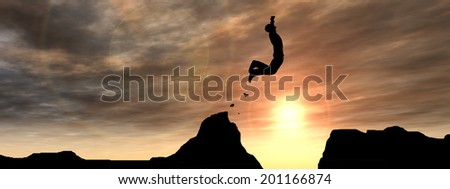 Concept or conceptual young man or businessman silhouette jump happy from cliff over  gap sunset or sunrise sky banner background - stock photo