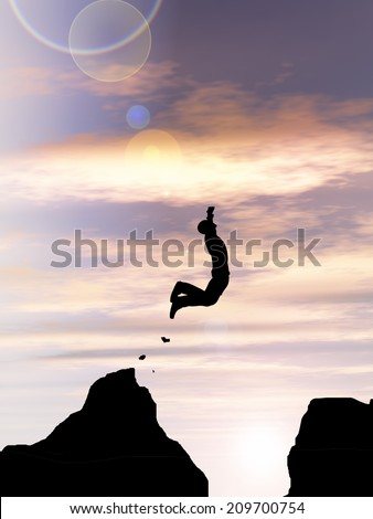 Concept or conceptual young man or businessman silhouette jump happy from cliff over  gap sunset or sunrise sky background as metaphor to freedom, nature, mountain, success, free, joy, health or risk