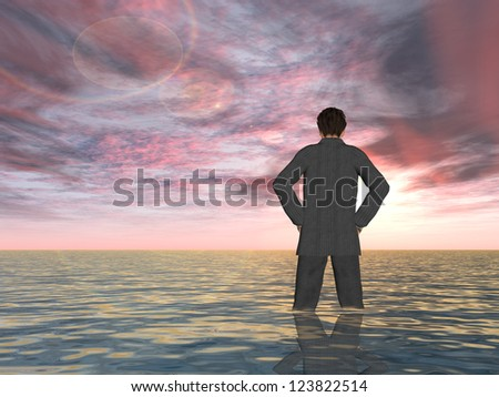 Concept or conceptual Young man or businessman standing or sinking in the sea with waves and a sky at sunset as metaphor to business,crisis,career,manager,finance,risk,depression,problems or failure - stock photo
