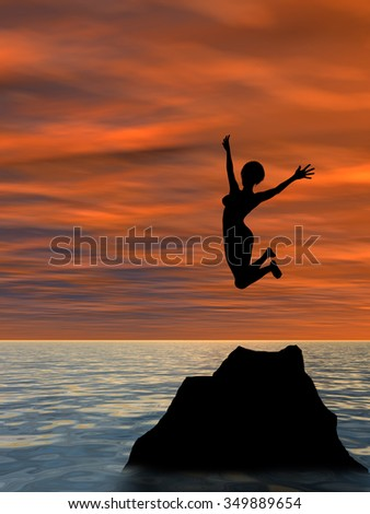 Concept or conceptual young woman or businesswoman silhouette jump happy on cliff over water sunset or sunrise sky background metaphor to freedom, nature, vacation, success, free, joy, health or risk