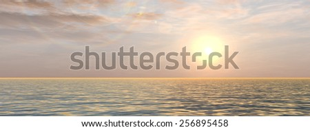 Concept or conceptualbeautiful seascape with water and waves and a sky with clouds at sunset banner as a metaphor for nature, romantic, dramatic, light, evening, morning, peace, atmosphere or weather  - stock photo