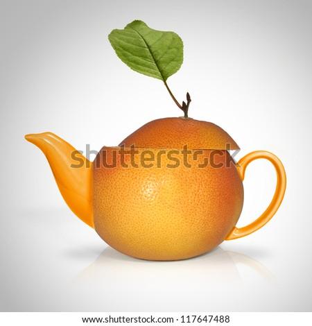Concept orange tea - stock photo