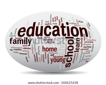 Concept oval or ellipse education abstract word cloud, white background, metaphor to child, family, school, life, learn, knowledge, home, study, teach, educational, achievement, childhood or teen - stock photo