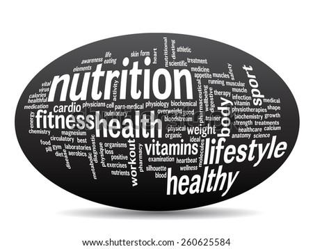 Concept oval or ellipsel abstract word cloud on black background as metaphor for health, nutrition, diet, wellness, body, energy, medical, fitness, medical, gym, medicine, sport, heart or science - stock photo