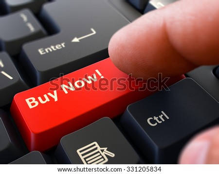 Concept. Person Click on Red Keyboard Button with Text Buy Now. Selective Focus. Closeup View. - stock photo
