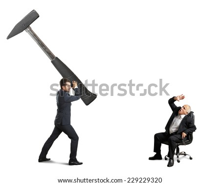 concept photo between stressed young businessman and senior boss. angry man with big hammer and scared senior man on the office chair. isolated on white background - stock photo