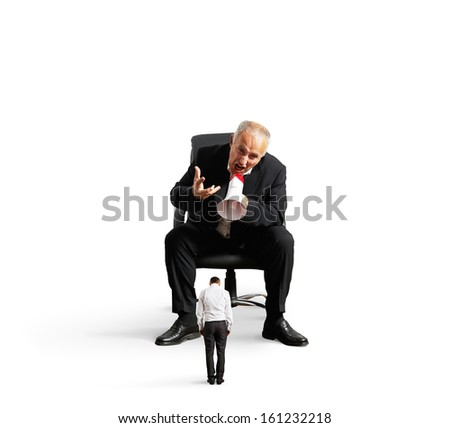 concept photo of big boss yelling at small worker. isolated on white background - stock photo