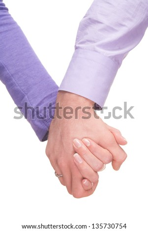 concept photo of friendship and love between man and woman isolated on the white background - stock photo