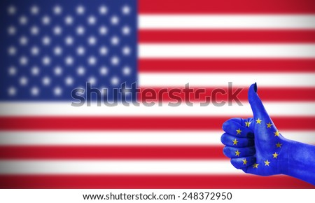 Concept photo - positive attitude of the European Union for the United States - stock photo