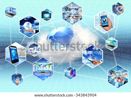 Concept picture of Internet and information technology with cloud computing - stock photo