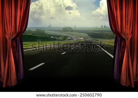 Concept presentation for eco tourism or green tourism - rest in the village. The dream of traveling by car on country road. Highway - panoramic of rural landscape in the theater.  - stock photo