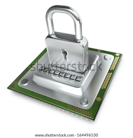 Concept. Processor unit CPU the lock isolated on white background High resolution 3d  - stock photo