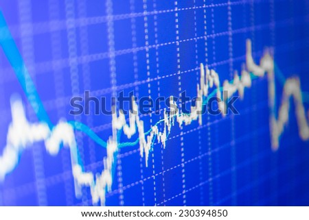 Concept profit gain. Ticker board blue. Real time stock exchange. Finance trade data analysis. Stock market chart on green background. Stock profit graph for diagram. Stock data live on-line.  - stock photo