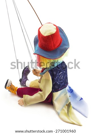 concept. Puppets  being manipulated. ?lown was tired  - stock photo