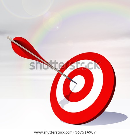 Concept red dart target board with an arrow in the center on white ground and rainbow sky background metaphor to success, competition, business, game, achievement, win, perfection, strategy best focus