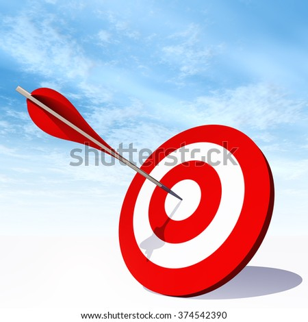 Concept red dart target board with an arrow in the center on white ground and sky background metaphor to success, competition, business, game, achievement, win, perfection, strategy, best or focus