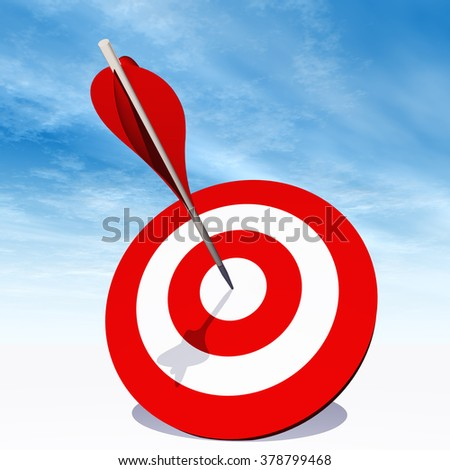 Concept red dart target board with an arrow in the center on white ground and sky background metaphor to success, competition, business, game, achievement, win, perfection, strategy, best or focus - stock photo