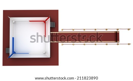concept. red event carpet to a boxing ring red  isolated on a white background. High resolution 3d render - stock photo