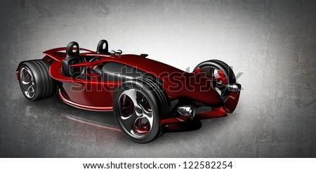 Concept. red sport roadster (No trademark. This car is my own design) High resolution 3d render - stock photo
