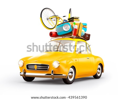 Concept retro car with luggage. Unusual creative travel 3d illustration. Isolated at white. Travel concept illustration - stock photo