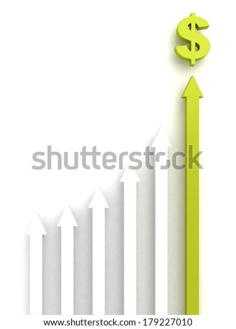 concept rising group of arrows with green top leader to dollar money symbol. business achivement 3d render illustration